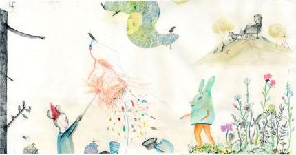 piñata .  50x30cms. pencil, color pencil, tea, watercolor.